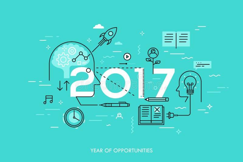 Infographic概念, 2017年-年机会 在想法一代,时间安排,经验交换的新的趋向 向量例证