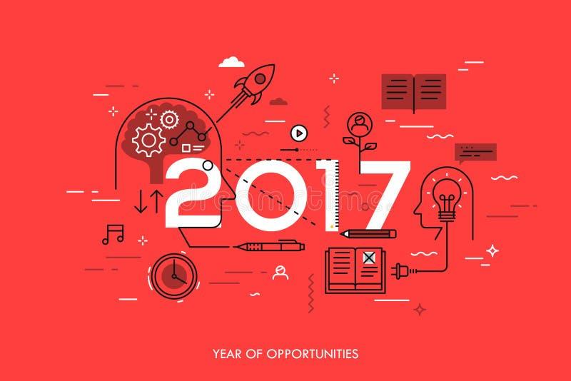 Infographic概念, 2017年-年机会 在想法一代,时间安排,经验交换的新的趋向 库存例证