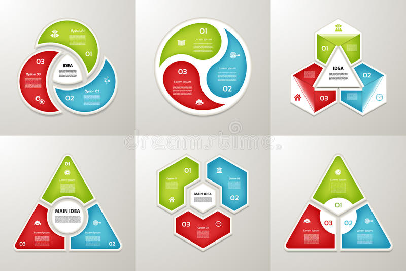 Infographic模板的汇集事务的 循环图的三步 也corel凹道例证向量 向量例证