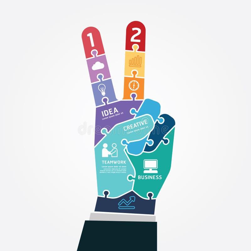 Infographic模板胜利手指企业竖锯横幅 库存例证
