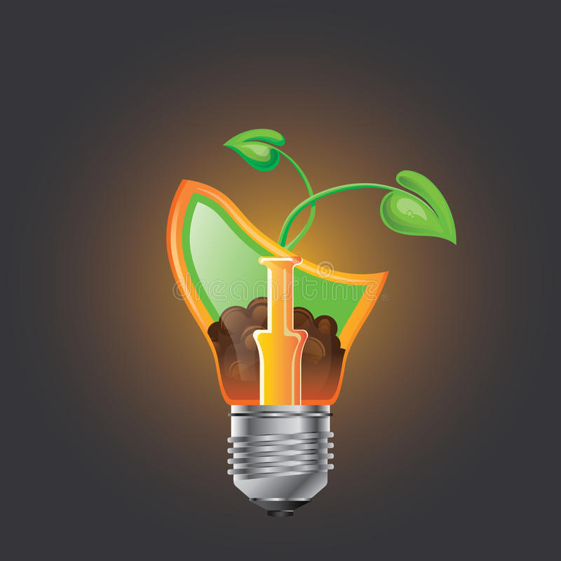 Infographic模板 Eco电灯泡,光,叶子,象 库存例证