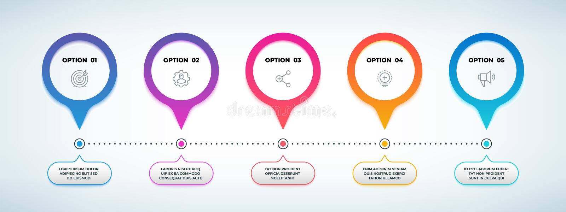 infographic现实的步 3D选择流程图,时间安排图表模板,企业介绍横幅 r 向量例证