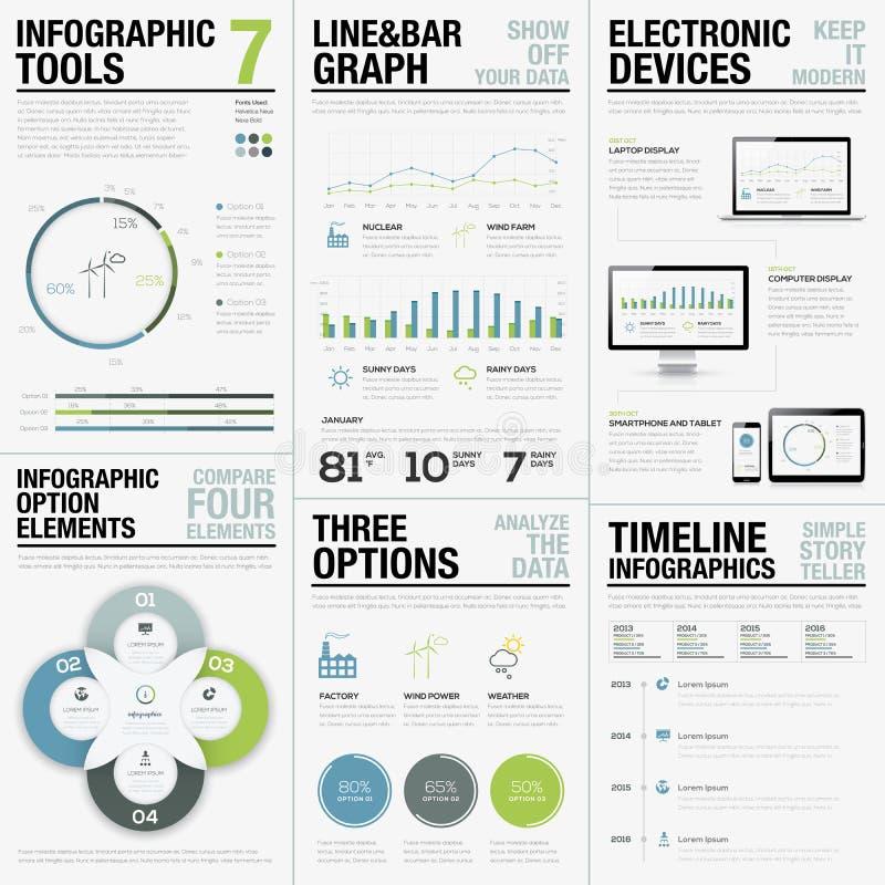 Infographic用工具加工7 -企业Infographics的传染媒介元素 向量例证
