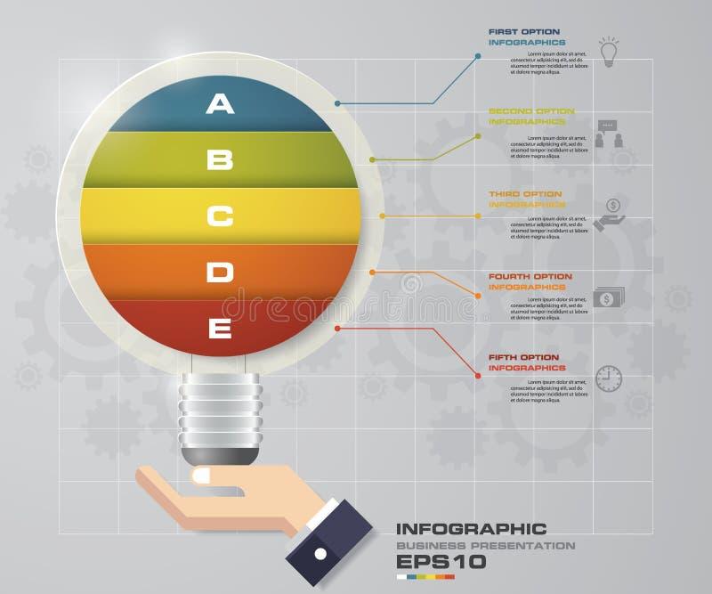 Infographic电灯泡与企业概念5选择的设计模板和套象 皇族释放例证