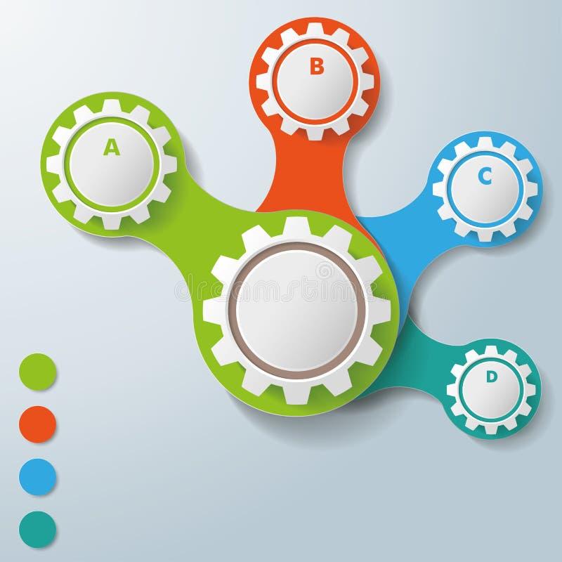 Infographic白色被连接的齿轮ABCD 向量例证