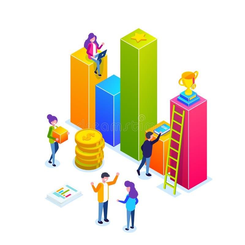 infographic的事务或成长曲线图 小人民建立商业运作 关于事务的计划的讨论 向量例证