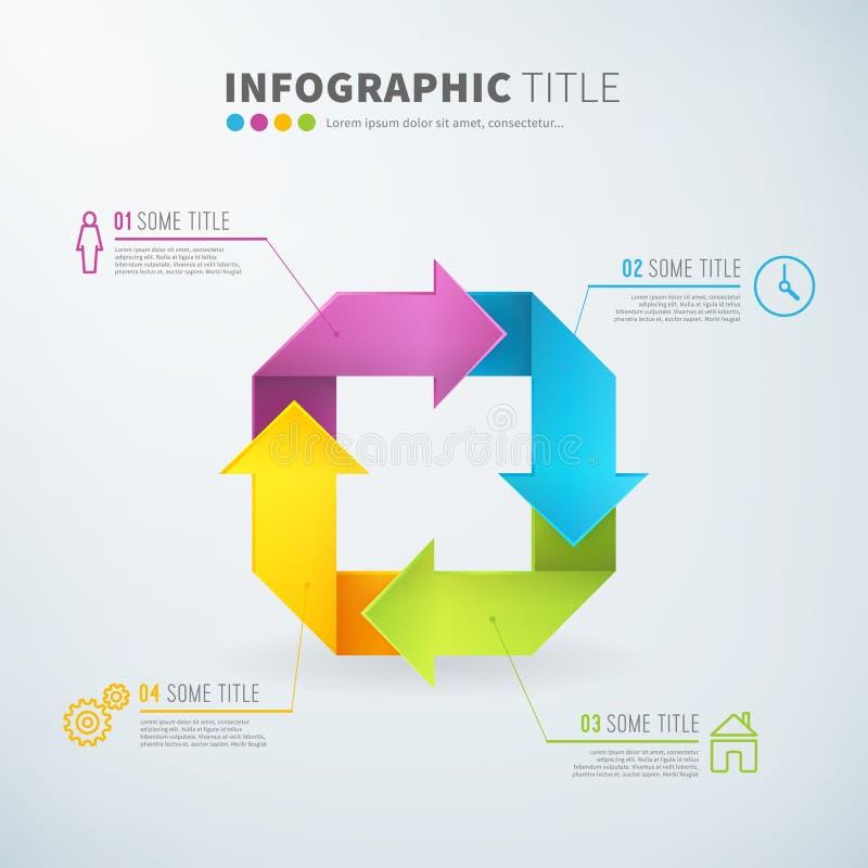 infographic的事务转动箭头图时间膝部 向量例证