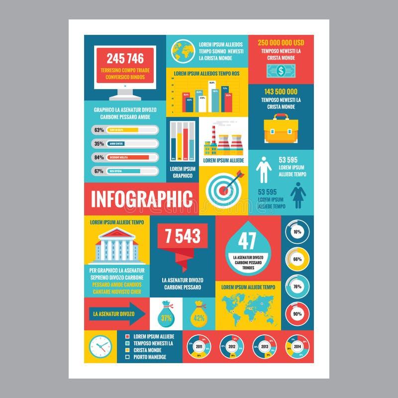 infographic的事务-与象的马赛克海报在平的设计样式 图标被设置的互联网图表导航万维网网站 库存例证