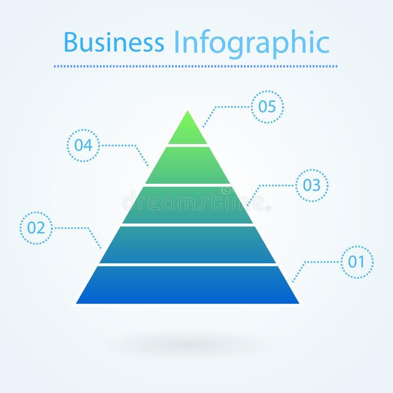 infographic的企业金字塔 5个水平 绘制透明概念图画女性现有量营销的屏幕图表 金字塔与数字的图解表 皇族释放例证