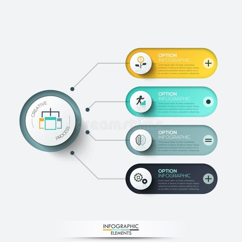 infographic的传染媒介元素 图、图表、介绍和图的模板 与4个选择的企业概念 库存例证
