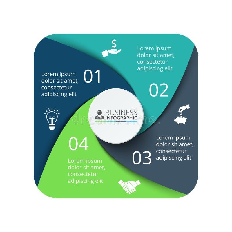 infographic的传染媒介方形的元素 与4个选择的企业概念 向量例证