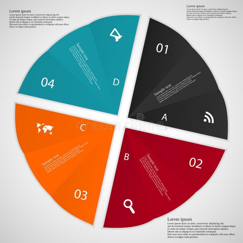 infographic的例证包括四被折叠的纸 库存例证