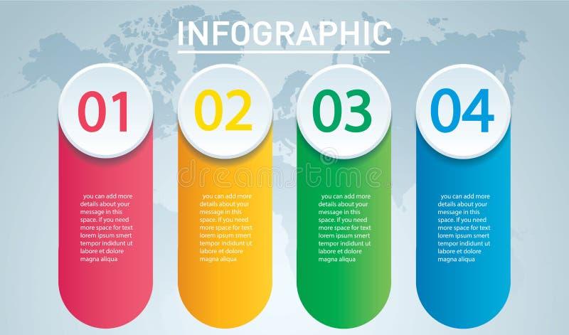 infographic的圈子 与4个选择的传染媒介模板 能为网,图,图表,介绍,图,报告使用,逐步 向量例证