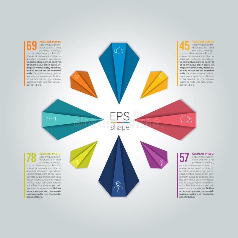 infographic的圈子 8步圆的流程图 图,图表,图,流程图,横幅模板 向量例证
