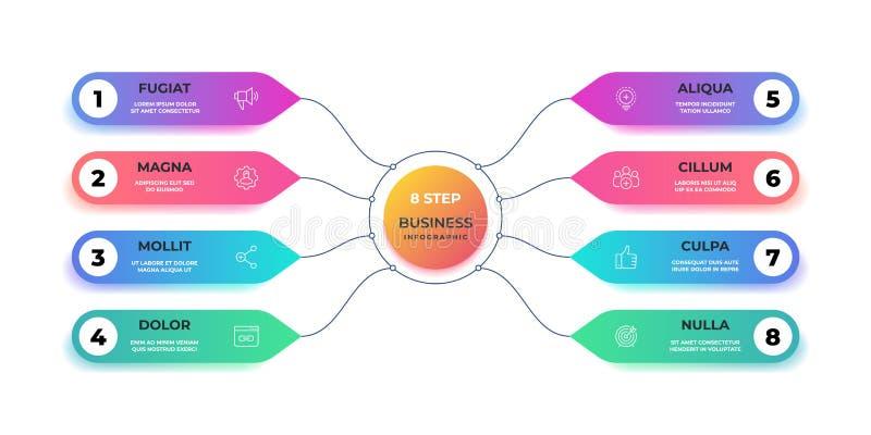 infographic的步3D 现实圈子图表图,圆的企业图表布局,步介绍 传染媒介工作流 向量例证