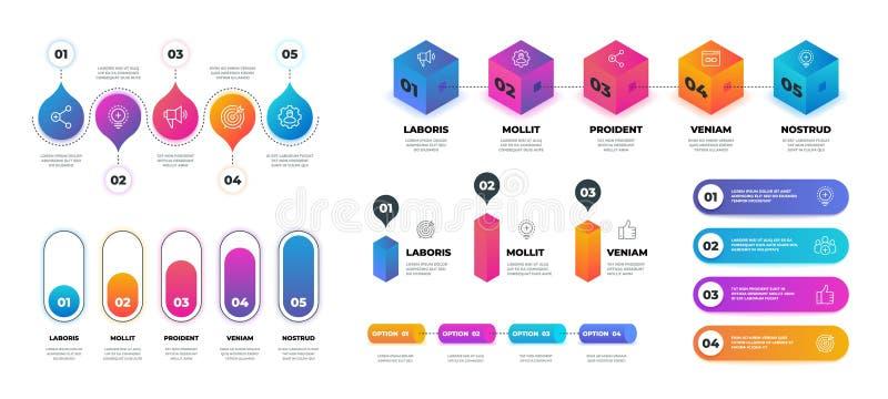 infographic的步3D 现实流程图图表,企业选择介绍模板 传染媒介工作流圈子图表 向量例证