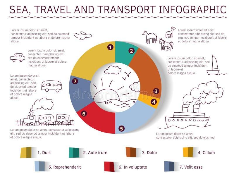 infographic的海上旅行和的运输 库存例证