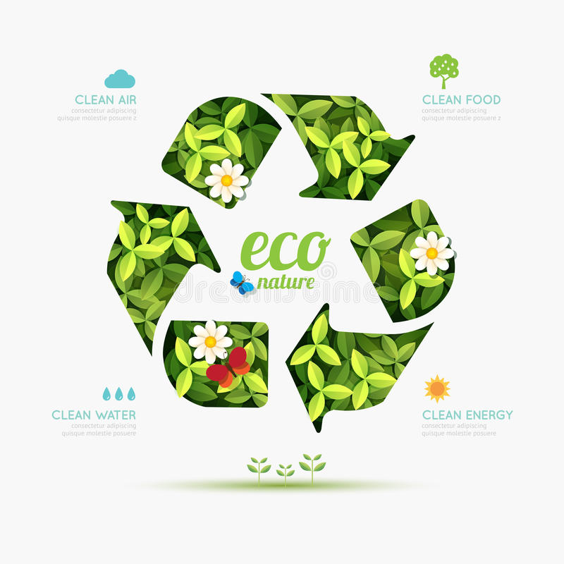 infographic的生态回收标志形状设计 本质保存 库存例证