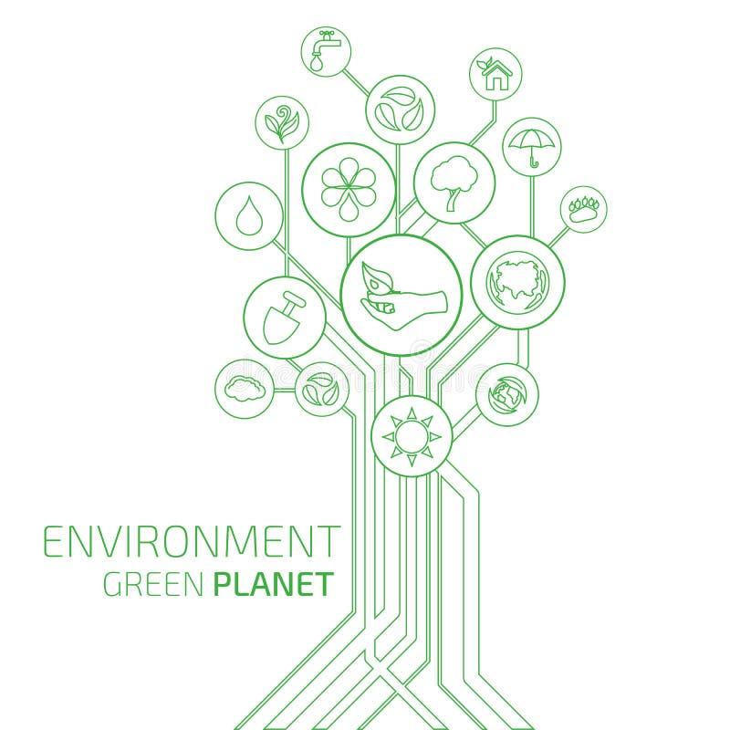 infographic的生态 环境,绿色行星 库存例证