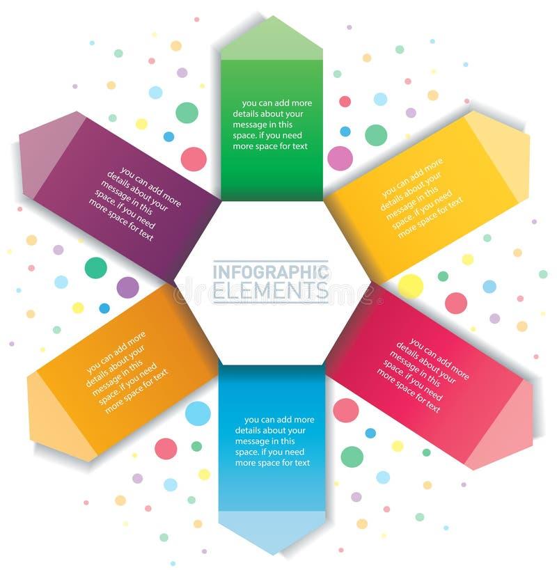 infographic的箭头和的六角形 与6个选择的传染媒介模板 向量例证