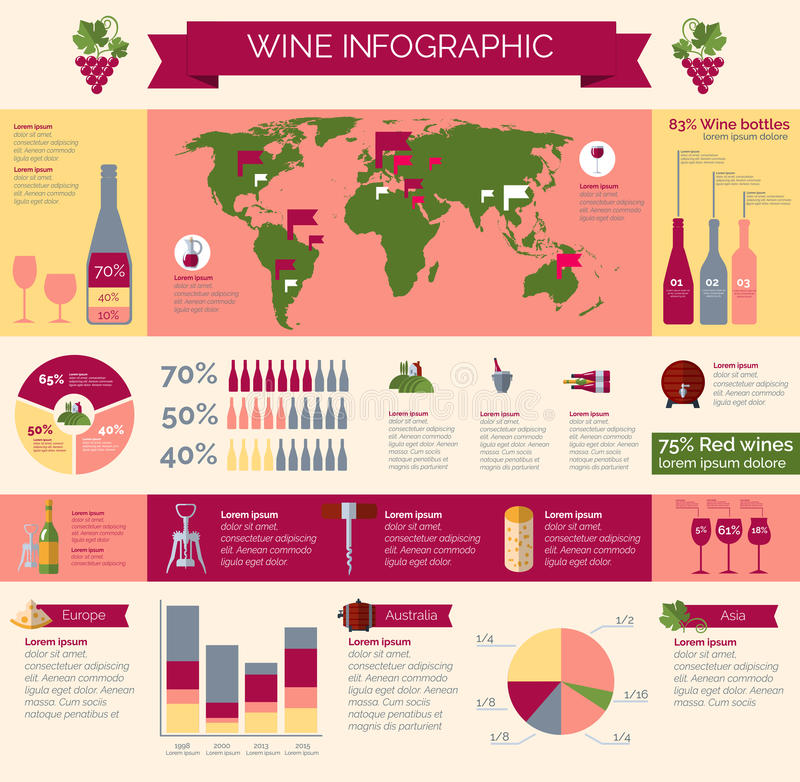 infographic的葡萄酒酿造和的发行 向量例证