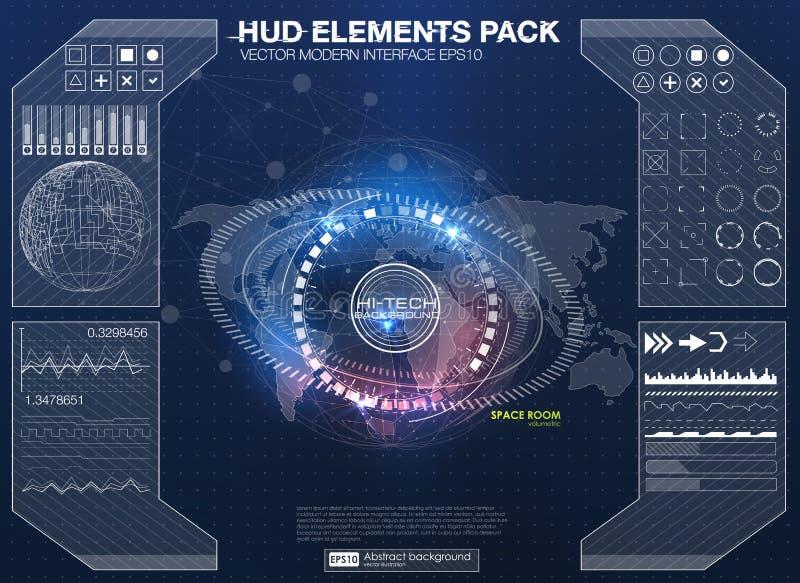 infographic的要素 未来派用户界面HUD UI UX 与连接的小点和线的抽象背景 皇族释放例证