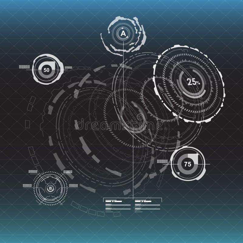 infographic的要素 网和app的平视显示的显示元件 未来派用户界面 真正图表 向量例证