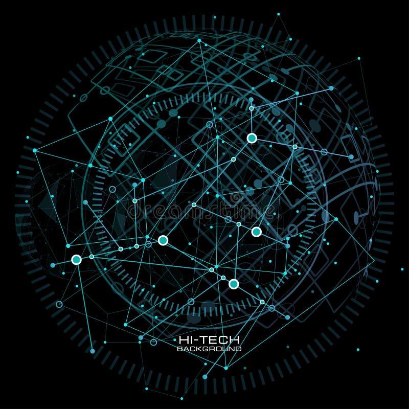 infographic的要素 未来派用户界面 与连接的小点和线的抽象多角形低空间多黑暗的背景 皇族释放例证
