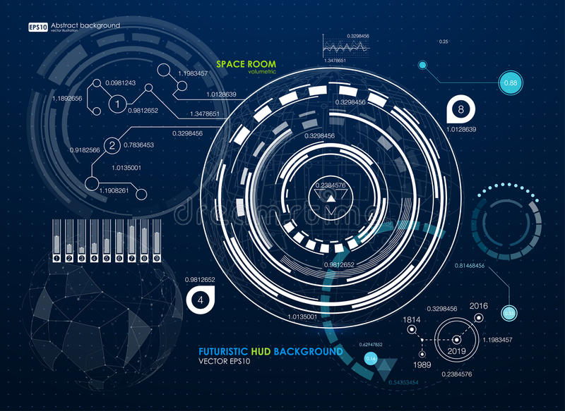 infographic的要素 未来派用户界面HUD 与连接的小点和线的抽象背景 连接数 向量例证