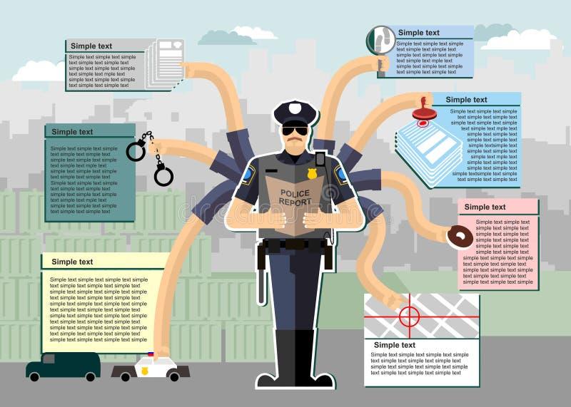 infographic的警察 警察在工作 工作时间 向量例证