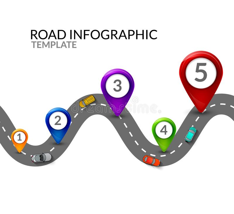 infographic的路 五颜六色的别针尖和汽车顶视图 infographic路的街道 企业地图模板 向量例证