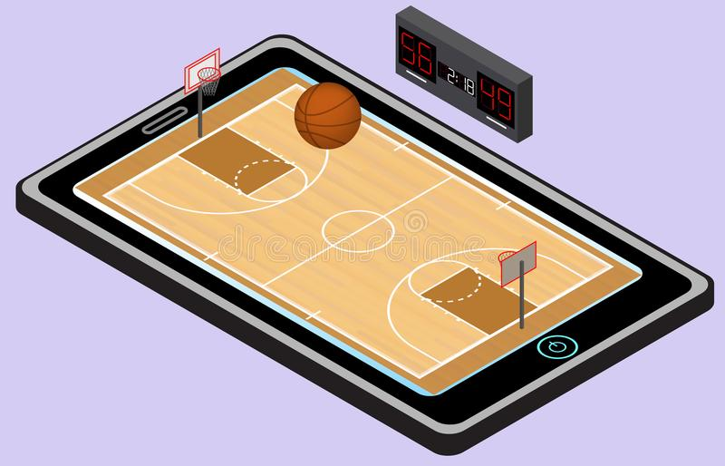 Infographic篮球操场、球和片剂 等量篮球图象 查出 皇族释放例证