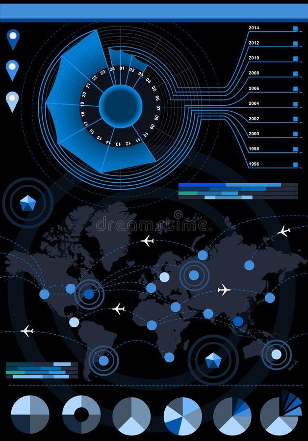 Infographic花直方图集合要素 向量例证
