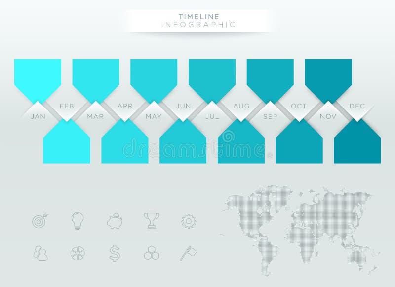 Infographic蓝色时间安排与年的12个月 向量例证