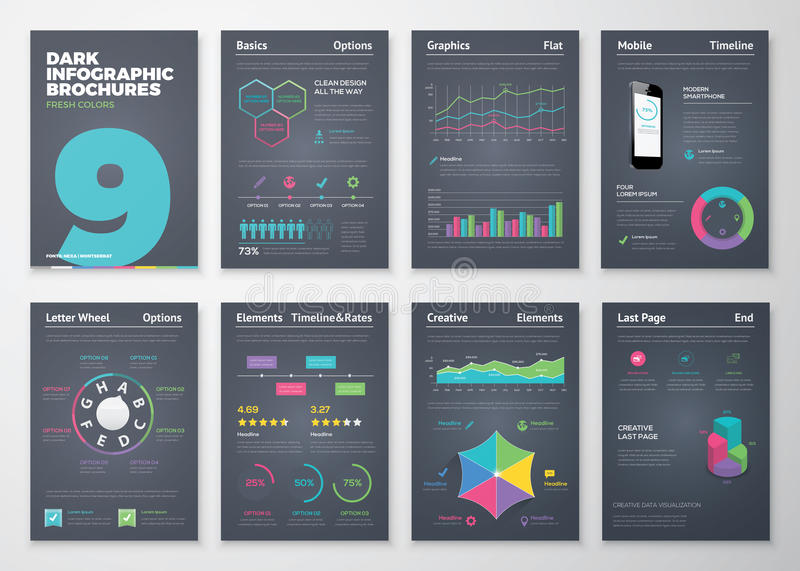 Infographic设置了与五颜六色的企业传染媒介元素 向量例证