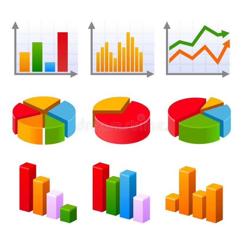 Infographic设置了与五颜六色的图和图 库存例证
