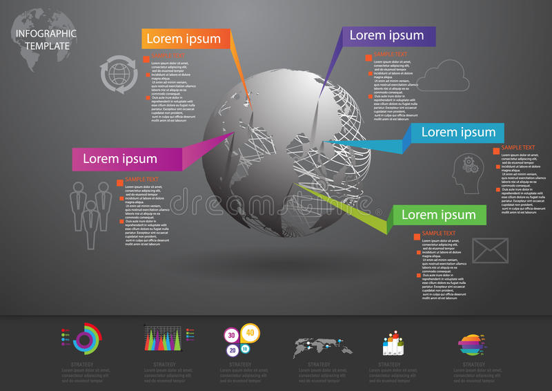 Infographic设计和模板营销象和Busi 皇族释放例证