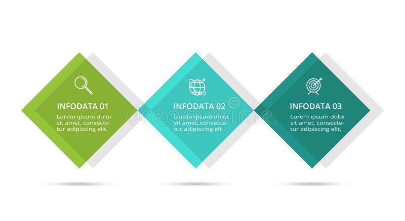 Infographic设计图、图表、介绍和圆的图的传染媒介和营销象 与3个选择的概念 皇族释放例证