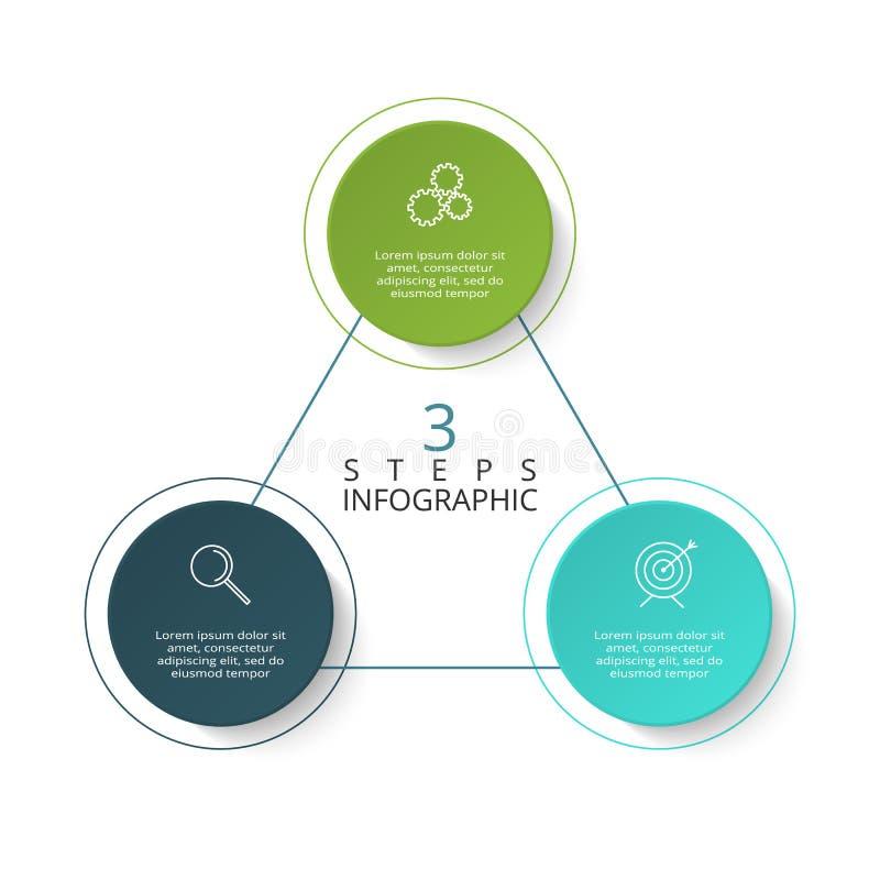 Infographic设计图、图表、介绍和圆的图的传染媒介和营销象 与3个选择的概念 库存例证
