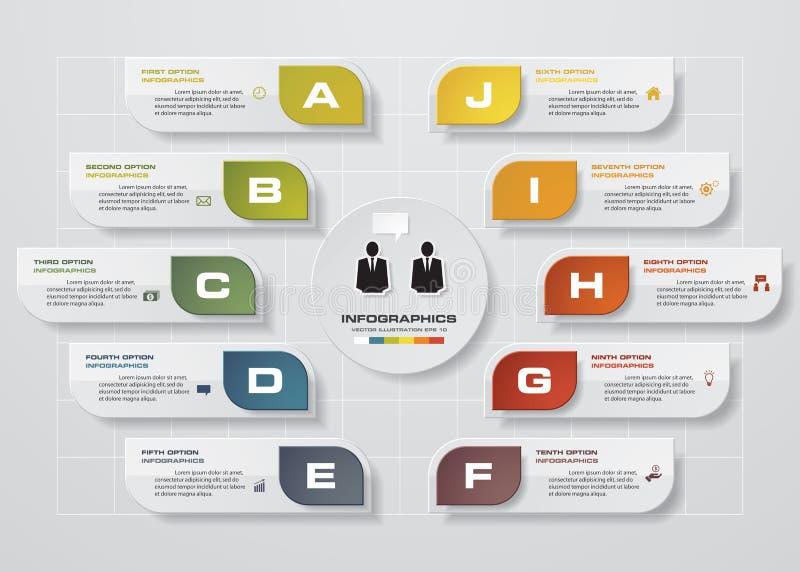 Infographic设计模板和企业概念与10个选择、部分、步或者过程 库存例证