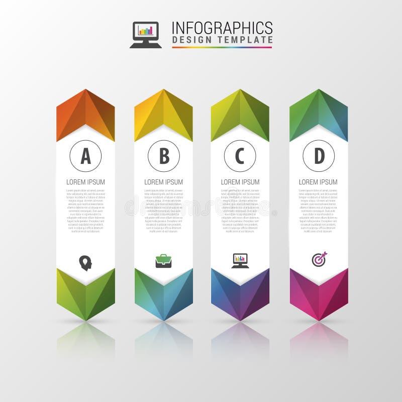 Infographic设计模板和营销象、企业概念与4个选择,零件、步或者过程 也corel凹道例证向量 皇族释放例证