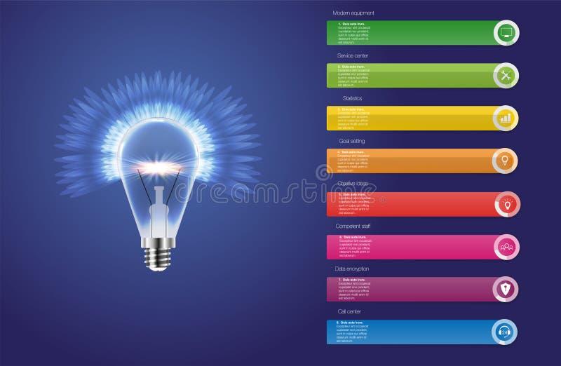 Infographic设计模板和营销象 电灯泡象 向量例证