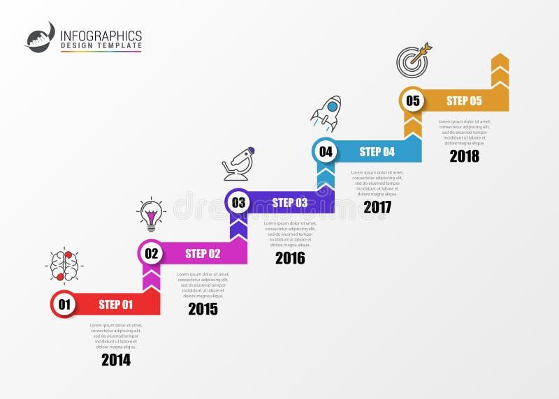 Infographic设计模板 与5步的企业概念 皇族释放例证