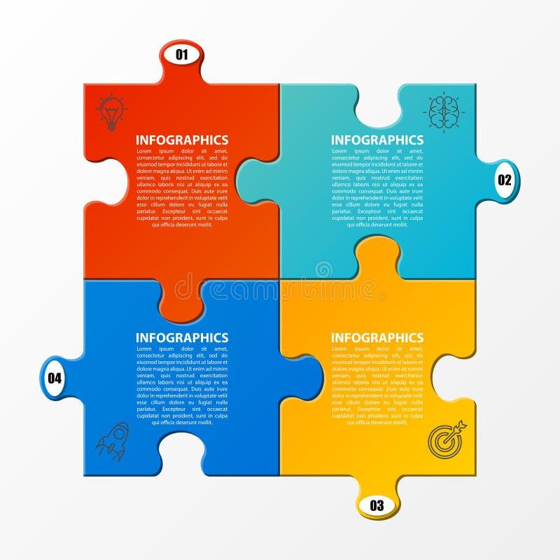 Infographic设计模板 与4步的企业概念 皇族释放例证