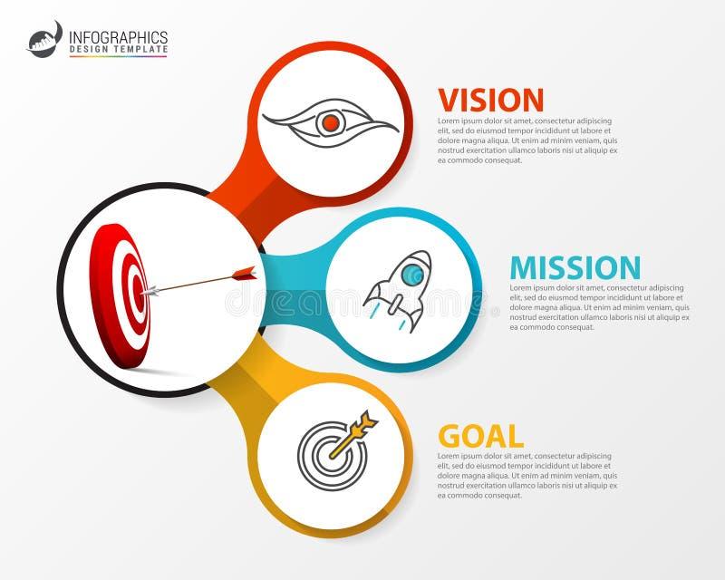 Infographic设计模板 与3步的企业概念 向量例证