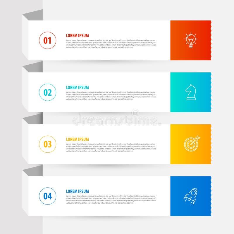 Infographic设计模板 与4步的企业概念 向量例证