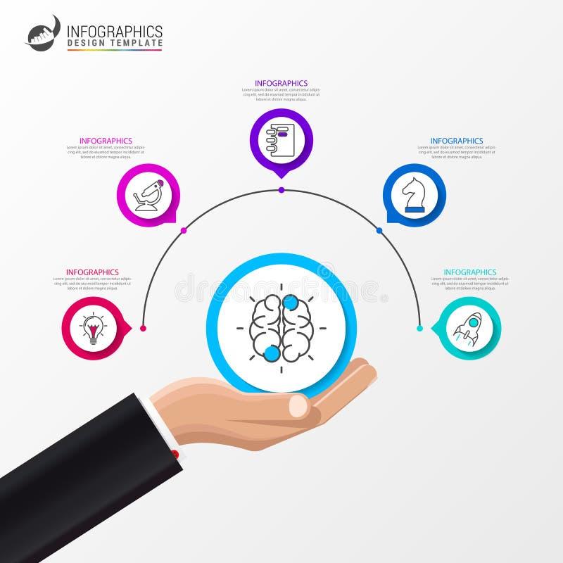 Infographic设计模板 与5步的企业概念 库存例证