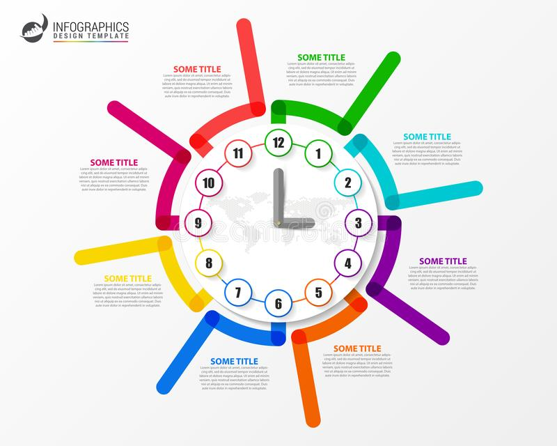Infographic设计模板 与8步的企业概念 皇族释放例证