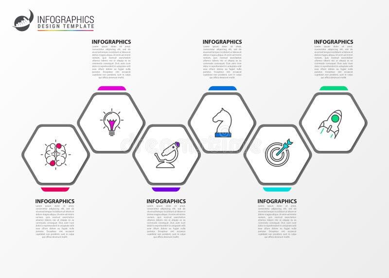 Infographic设计模板 与6步的创造性的概念 库存例证