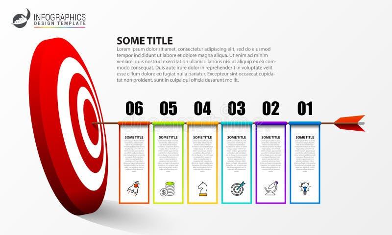 Infographic设计模板 与6步的创造性的概念 向量例证